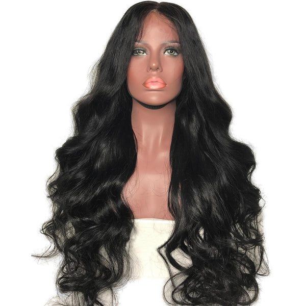 Luxe Synthetic Lace Front Wig Long Bouncy Waves Black