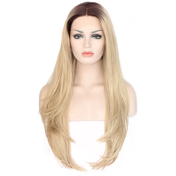 Luxe Synthetic Lace Front Wig Straight Middle Parting Blonde