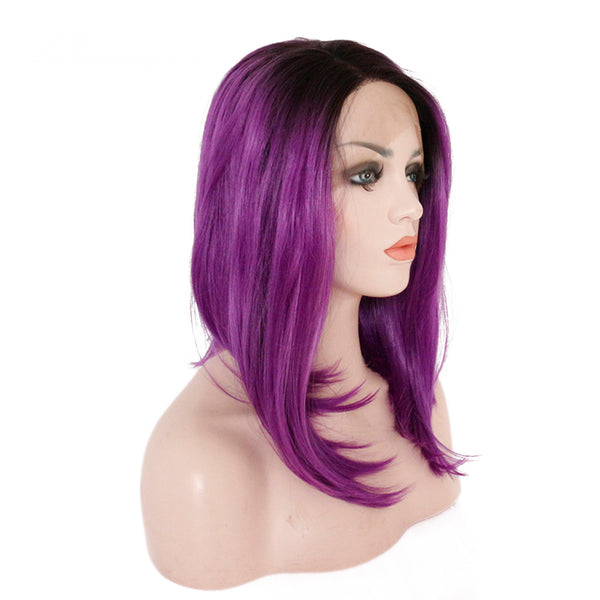 Luxe Synthetic Lace Front Wig Short Purple Ombre