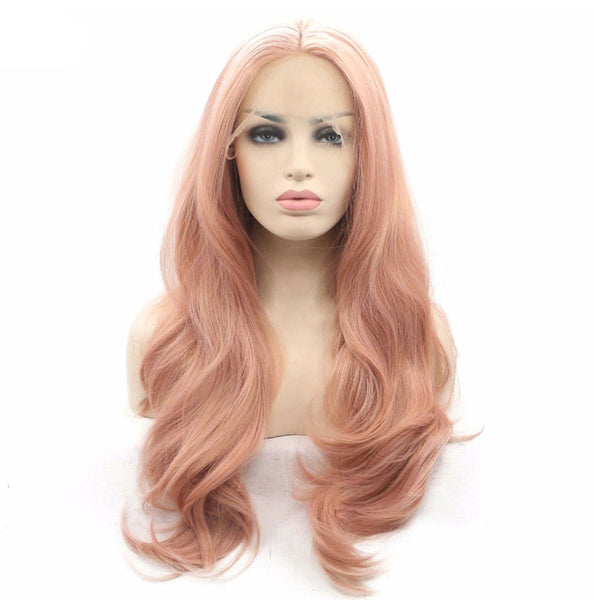 Luxe Synthetic Lace Front Wig Curly Pink