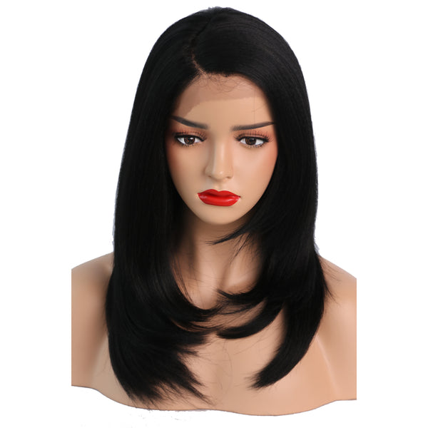 Luxe Synthetic Lace Front Wig Kinky Straight Black