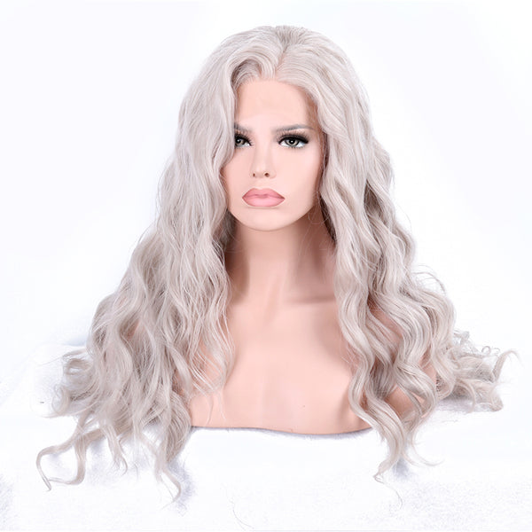 Luxe Synthetic Lace Front Wig Wavy Long Grey