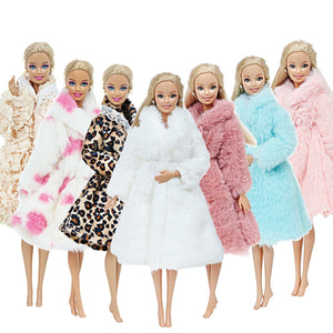 Handmade Barbie Doll Winter Wear Fur Coat - Doll Accessories - Aesthetic Outfits