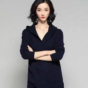 New Hooded Jacket Cashmere Cardigan Sweater For Women - Aesthetic Outfits