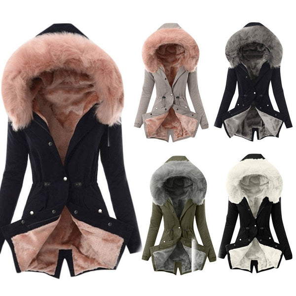 Ladies Fur Lining Hooded Coat - Aesthetic Outfits