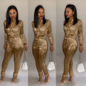 Gilding Women Jumpsuit - Long Sleeve Fashion Casual Romper - Aesthetic Outfits