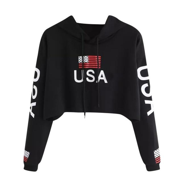 American Flag Crop Top Hoodie - Aesthetic Outfits