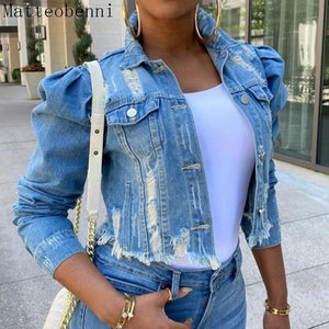 Women Sexy Ripped Denim Jackets - Aesthetic Outfits