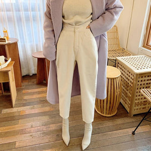 High Waist Harem Loose White Jeans - Aesthetic Outfits