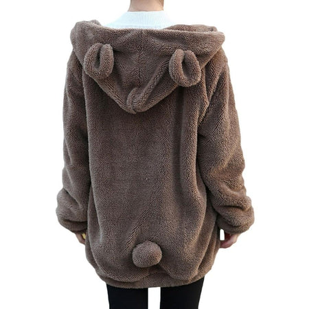 CALOFE 2020 Women Hoodies Zipper Girl Autumn Loose Fluffy Bear Ear Hoodie Hooded Jacket Warm Outerwear Coat Cute Sweatshirts