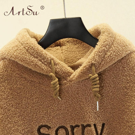 Camel Fluffy Teddy Hoodie Pullovers - Sorry I Am Not Sorry - Aesthetic Outfits