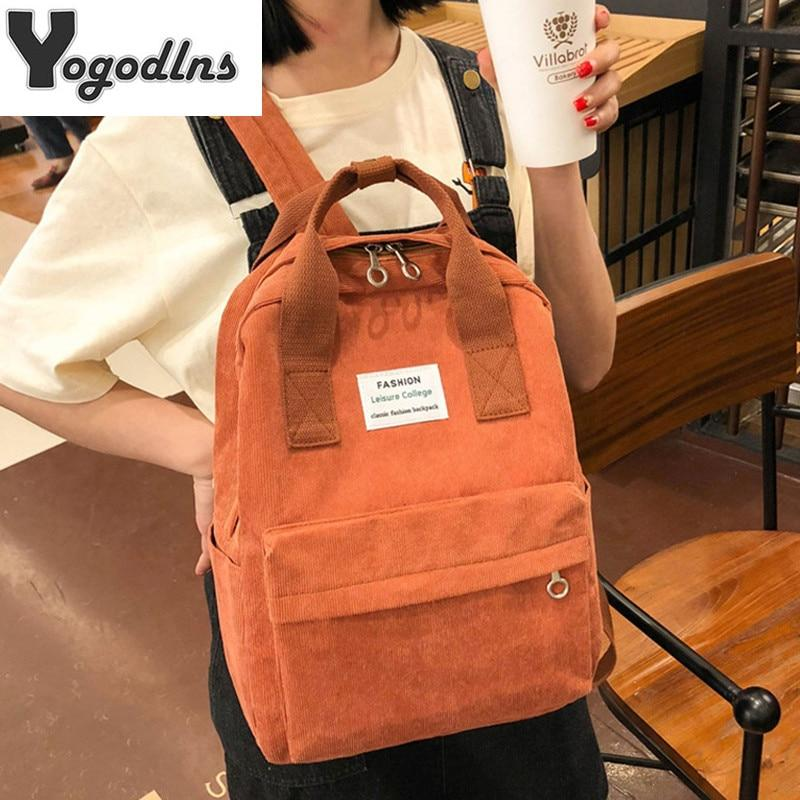 Corduroy Backpacks For Women - Teen Girls School Backpack - Aesthetic Outfits
