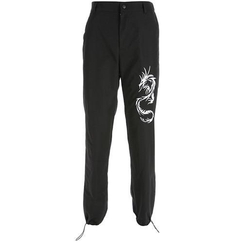 Dragon Embroidery Cargo Pants - Aesthetic Outfits