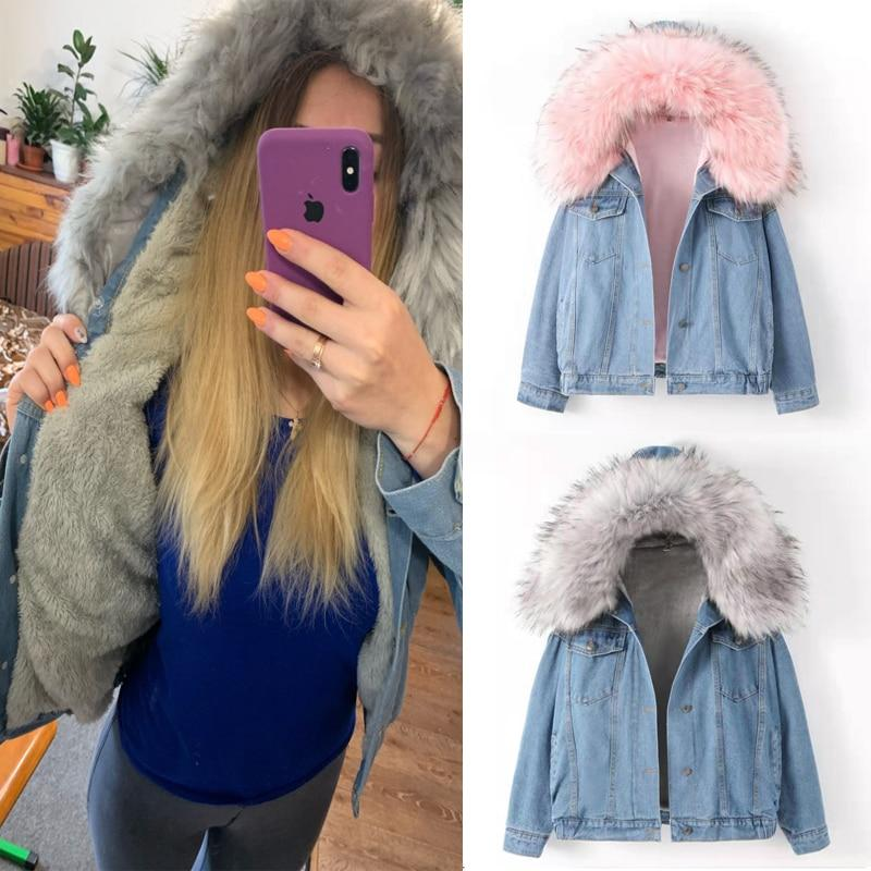 Elexs velvet thick denim jacket female winter big fur collar Korean locomotive lamb coat female student short coat 72510 - Aesthetic Outfits