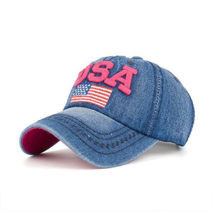 Embroidered USA Flag Caps - Aesthetic Outfits