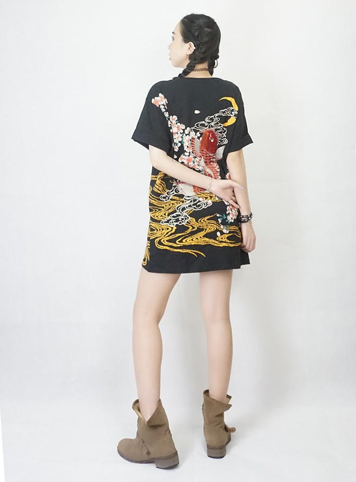 Embroidery Dragon Shirt - Aesthetic Outfits