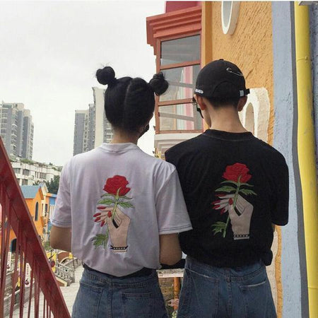 Embroidery Rose T-shirt - Aesthetic Outfits