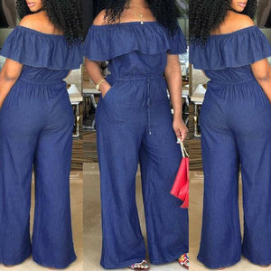 Women Solid Off Shoulder Long Romper Jumpsuit - Aesthetic Outfits