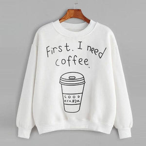 First I Need Coffee Hoodie - Aesthetic Outfits