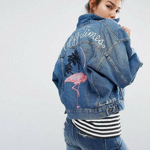 Flamingo Double Pocket Jean Jacket - Aesthetic Outfits