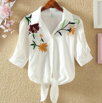 Floral Embroidery Shirt - Aesthetic Outfits
