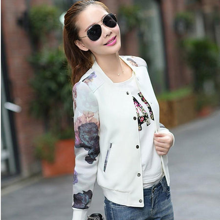 Flower Print Girl Jacket - Aesthetic Outfits