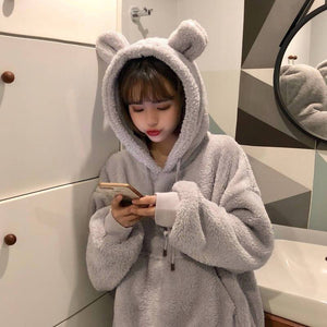 Fluffy Bear Ear Hoodie - Aesthetic Outfits