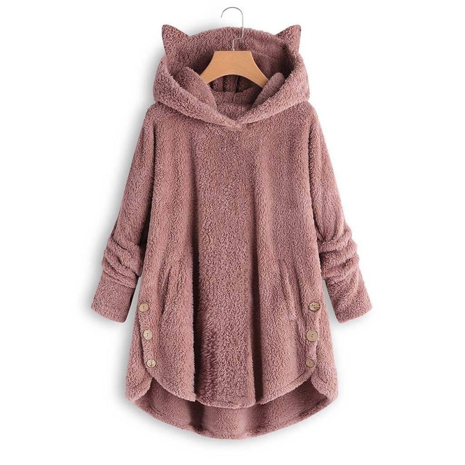 Fluffy Fleece Coat Winter Loose Hoodie - Cat Ear Hoodie - Aesthetic Outfits