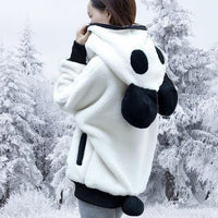 Fluffy Panda Ear Women Hoodie - Aesthetic Outfits