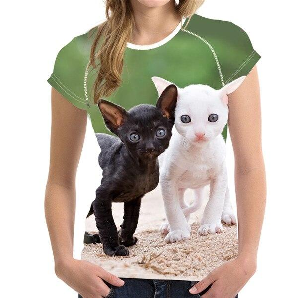 Funny 3D Middle Finger Cat Printed T Shirt - Aesthetic Outfits