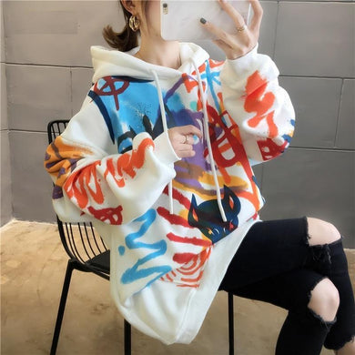 Graffiti Print Loose Hoodie for Women - Aesthetic Outfits