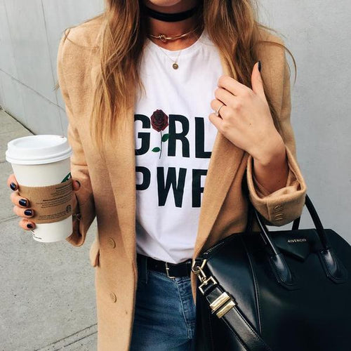 GRL PWR Rose T-shirt - Aesthetic Outfits