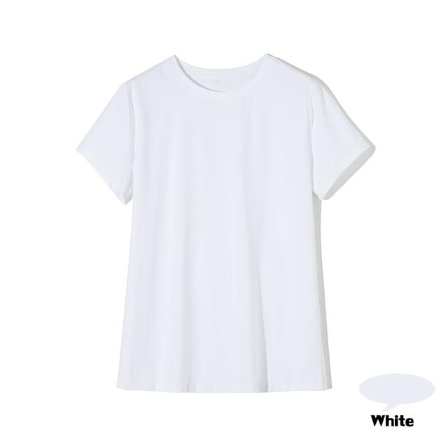 High Quality 18 Color S-3XL Plain T Shirt Women Cotton Elastic Basic T-shirts Female Casual Tops Short Sleeve T-shirt Women 002 - Aesthetic Outfits