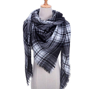 Luxury Brand Knitted Plaid Scarf  - Warm Wool Scarves - Shawls - Pashmina Lady Wrap - Aesthetic Outfits