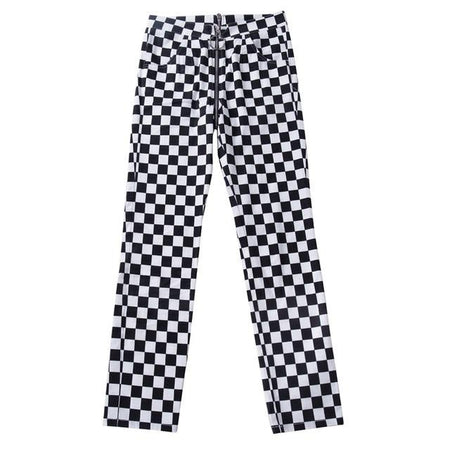 Zipper Checkered Straight Pants for Women - Aesthetic Outfits