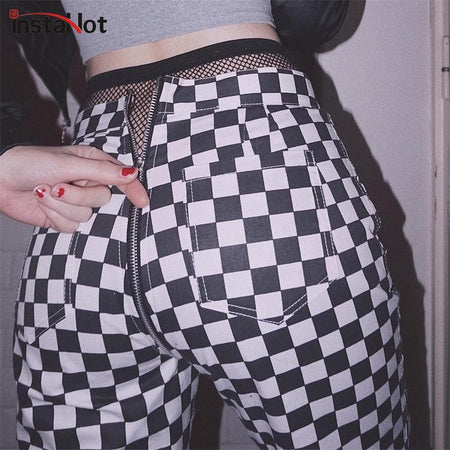 InstaHot Zipper Checkered Straight Pants for Women