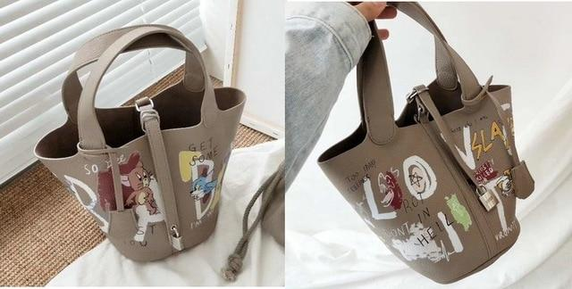 Graffiti Basket Bucket Bag - Painted Handbag For Ladies - Aesthetic Outfits