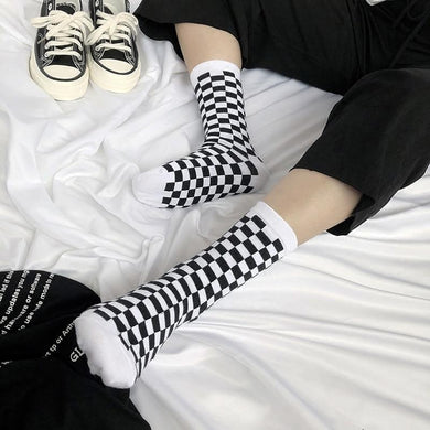 Korean Checkered Socks - Aesthetic Outfits