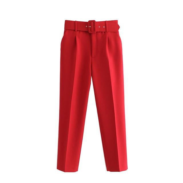 Office Wear Female Ankle Trousers - Aesthetic Outfits