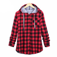 Long Sleeve Plaid Cotton Hoodie - Aesthetic Outfits