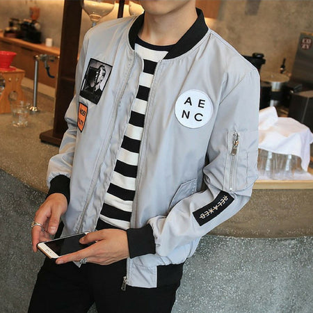 Men Bomber Hip Hop Jacket - Aesthetic Outfits