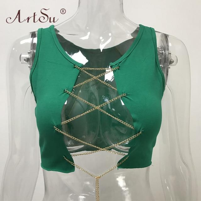 Metal Chain Sleeveless Crop Top - Adjustable Lace Up Tank Tops