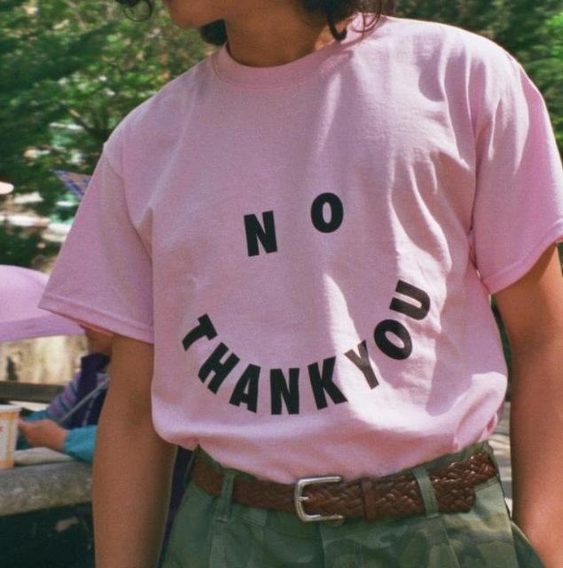 No THANK YOU Print Cotton Casual T-Shirt - Aesthetic Outfits