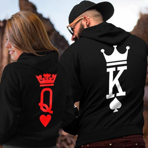 King Queen Crown Couple Hoodies - Aesthetic Outfits