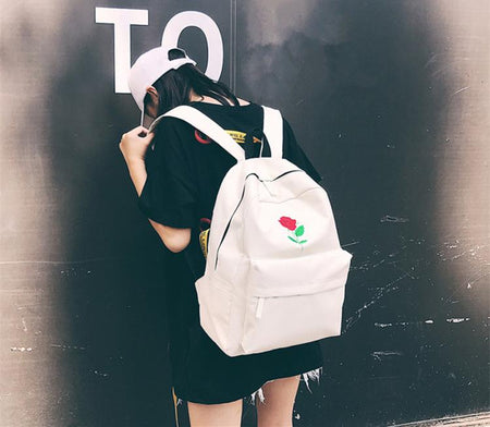 Rose Embroidery Backpack - Aesthetic Outfits