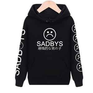 Sad Faces Emoticon Sleeves Printed Hoodies / Tops - Aesthetic Outfits