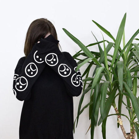Sad Faces Emoticon Sleeves Printed Tumblr Hoodie - Aesthetic Outfits