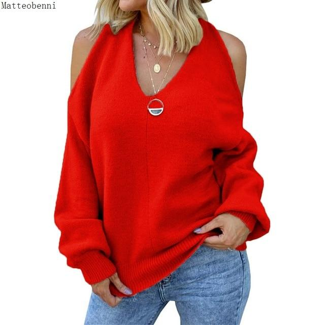 Sexy V-neck Off-shoulder Knitted sweater Fashion Casual Loose Cross Backless Pullover Street Women's pink jumper winter 2020 New - Aesthetic Outfits