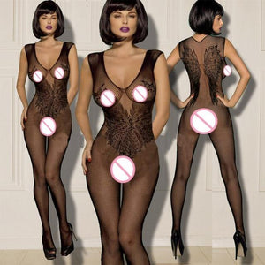Sexy Women Fishnet Open Black Lingerie Erotic Bodysuit Sleepwear - Aesthetic Outfits