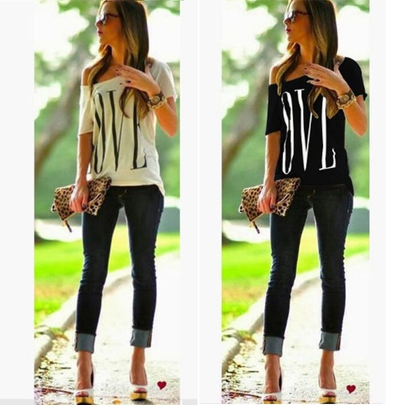 Short Sleeve Off Shoulder Love Letter Print White T Shirt - Aesthetic Outfits